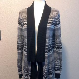 Maruices Black Geo Pattern Sweater Cardigan
